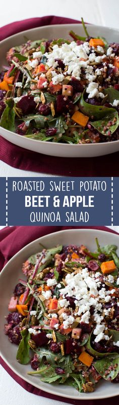 Roasted Sweet Potato, Beet, Apple and Quinoa Salad is made with fresh greens, vegetables, spiced pepitas, dried cranberries, goat cheese and a simple balsamic honey dressing!
