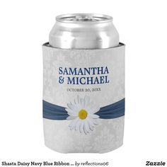 Shop Shasta Daisy Navy Blue Ribbon Wedding Can Cooler created by Personalize it with photos & text or purchase as is! Ribbon Wedding, Floral Wedding, Wedding Koozies, Wedding Gifts, Summer Wedding, Wedding Day, Blue Ribbon, Simple Weddings, Wedding Supplies