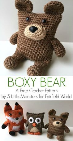 Crochet Amigurumi Animal Boxy Bear free crochet pattern - Link to the Boxy Bear crochet pattern. This amigurumi animal is part of a series including a fox and an owl. All three are available as free patterns. Crochet Diy, Crochet Simple, Crochet Bear, Crochet For Kids, Crochet Dolls, Crochet Pillow, Crochet Teddy Bear Pattern Free, Crochet Baby Toys, Crochet Teddy Bears