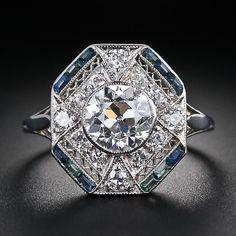 1.28 Carat Diamond and Calibre Sapphire Art Deco Ring. Simply Gorgeous!