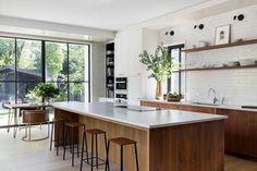 Kitchen Island Storage, Modern Kitchen Island, Small Space Kitchen, New Kitchen, Kitchen Islands, Small Spaces, Kitchen White, Kitchen Wood, Kitchen Sink