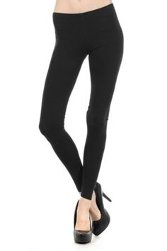 Womens Cotton Solid Long Leggings by BLVD Black Medium >>> Check out the image by visiting the link.
