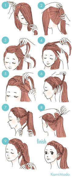 前髪を編込んだポニーテールヘアアレンジ【イラスト付き】