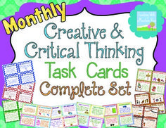 Monthly Creative and Critical Thinking Task Cards & Enrichment { Complete Set } Critical Thinking Activities, Critical Thinking Skills, Wacky Holidays, Depth Of Knowledge, Teacher Boards, Enrichment Activities, 21st Century Learning, Teaching Language Arts, Gifted Education
