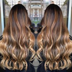 Bronde Balayage For Black Hair Tiger Eye Hair Color, Tiger Hair, Eye Color, Balayage Blond, Hair Color Balayage, Honey Balayage, Balayage Highlights, Cabelo Ombre Hair, Brunette Hair