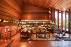 The Usonian-style Frank Lloyd Wright Sondern-Adler House in Kansas City, Missouri, is going to be sold in a no-reserve auction this month. Frank Lloyd Wright Buildings, Frank Lloyd Wright Homes, Usonian, Brick And Wood, Wood Panel Walls, Paneled Walls, Ann Arbor, Mid Century House, Open Plan Living