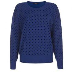 Paul Smith Women's Knitwear - Blue Flocked Polka Dot Sweater