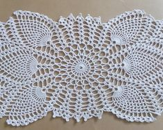 handmade crochet doily, oval doily, ecru doily