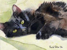 Print Black Cat Painting Art long hair longhair
