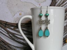 Turquoise and Antique Gold Dangle Earrings with by SmockandStone, $17.00