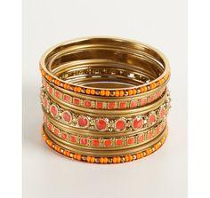 Chamak by Priya Kakkar set of 12 - orange and gold beaded bangles | BLUEFLY up to 70% off designer brands