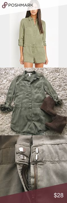 Army Green Romper This romper is Army green, buttons down the front with a zipper on the shorts and front hook closure at the waist! Relaxed fit but is a true small! Pockets on front and back! Never been worn!                                                                                                         NO TRADES                                                                            All offers Considered Forever 21 Pants Jumpsuits & Rompers