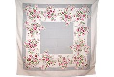 One Kings Lane - Pink & Gray Floral Tablecloth