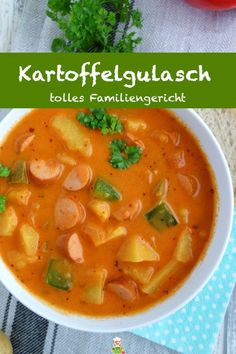 goulash with Viennese sausages, family stew - my parlor - Recipe for delicious potato goulash with Viennese sausages. In just 30 minutes of preparation and c -Potato goulash with Viennese sausages, family stew - my parlor - Recipe for delicious potato. Easy Healthy Recipes, Meat Recipes, Baby Food Recipes, Easy Dinner Recipes, Healthy Snacks, Easy Meals, Cooking Recipes, Cooking Time, Healthy Soup