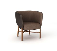 """""""Cabriolet"""" chair Hermes """"cabriolet"""" chair with solid Canaletto walnut wood base and brushed inox plated finishings. Covered with ebony black taurillon essential leather. Padded seat and back covered with taurillon essential leather and dark taupe """"Cravache"""" fabric. L27"""" x H28.5"""" x W25.4"""" <br />Small and comfortable occasional armchair skillfully enhanced with piping.<br />"""