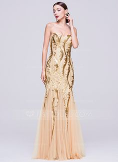 Trumpet Mermaid Sweetheart Floor-Length Zipper Up Strapless Sleeveless No  Other Colors Winter Spring Summer Fall General Plus Tulle Sequined Evening  Dress 5844ecae90dc
