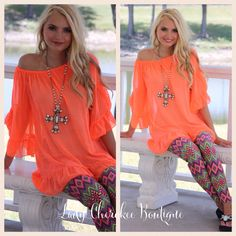 """https://instagram.com/ladycherokeeboutique What's available! Neon Sunset NEON ORANGE RUFFLE SLEEVE TUNIC Can Be worn on or off the shoulder Price: $30.00, FREE SHIPPING  Qty: 1 small(4/6), 2 large(10/12) Please comment """"Sold, state, size, and quantity needed, as well as your email to purchase. Also, you must let us know what state you live in, before we can invoice you!"""