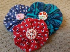 Easy Sewing Project - Fabric Button Flowers