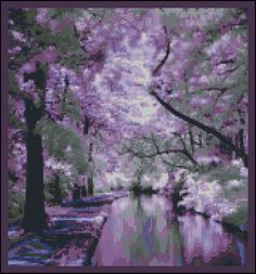 Lilac Stream - Counted Needle Point and Cross Stitch Chart Patterns - Needle Point Pillow. $18.00, via Etsy.