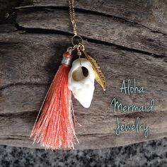 Conch Tassel Gold NecklaceCoral Silver Silk by AlohaMermaidJewelry