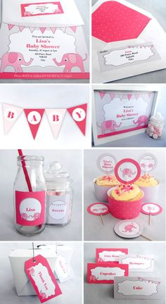 Baby Pink Elephant Baby Shower - Printables available as an invite pack or complete party pack. Visit www.missshinedesign.co.nz for more information.