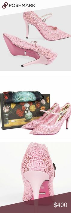 fefa1bd25793a Gucci Virginia Lace Pumps Scallop-edged guipure lace enhances the graceful  air of a pointy