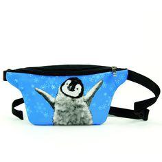 Christmas Cartoon Penguins Trees Running Lumbar Pack For Travel Outdoor Sports Walking Travel Waist Pack,travel Pocket With Adjustable Belt