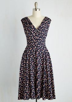 Just in Timeless Dress in Florets. For a vintage-inspired look that will make your heart leap, hurry into this navy blue dress from hard-to-find British brand Emily  Fin! #multi #modcloth