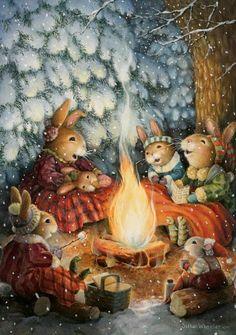 Susan Wheeler Susan Wheeler, Art And Illustration, Friends Illustration, Rabbit Illustration, Vintage Christmas Cards, Christmas Art, Christmas 2019, Christmas Bunny, Lapin Art