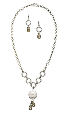 Jewelry Design - Single-Strand Necklace and Earring Set with Bone Embellishment, Silver-Plated Pewter Charms and Swarovski Crystal - Fire Mountain Gems and Beads