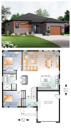 "Modern House Plan 76356 | Total Living Area: 1283 sq ft, 2 bedrooms & 1 bathroom. Inside the home, the unencumbered foyer leads into an activities area which opens onto the back yard. This plan offers many practical features including the front entrance with its 5 foot closet and access to the garage, the kitchen with ample storage space and a large central island that is 80"" wide x 40"" deep. #modernhouse #houseplan"