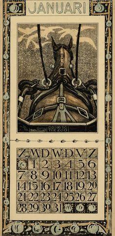 Calendar 1906 going to the zoo - Januari // janvier Description Physique: 1 calendar, 12 leaves : col. ill. ; 48 x 22 cm. Hoytema, Theodoor van, 1863-1917 ( illustrator ) Editeur: Tresling & Co. Date Éditée: 1906: