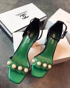 #chanel #green #shoes #sandals #heels #anklestraps #pearls #chic #footwear #summer #spring #style #fashion #chic #classic | #edithann