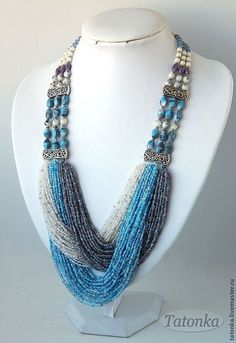 "Purchase Necklace ""Three colours of the sky"" huge ring … Seed Bead Necklace, Seed Bead Jewelry, Bead Jewellery, Statement Jewelry, Wire Jewelry, Jewelry Crafts, Beaded Jewelry, Jewelery, Jewelry Necklaces"