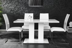 Design Esstisch ROYAL Hochglanz weiss 140cm Tisch  bei www.riess-ambiente.de