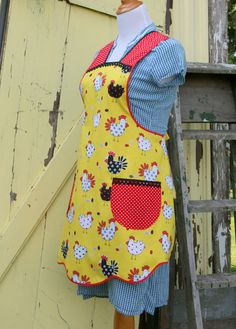 Red and Yellow Chicken Vintage Style Pinny Apron by FarmhouseRose