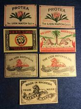 Collection 7 Matchbox Labels - South Africa - Lion Match Co - Protea, simba Match Boxes, South Africa, Lion, Collection, Leo, Lions