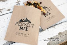 The Perfect Mix - Personalized Bags - Mountain, Camping Theme - 20 lined kraft paper Bags (food not included) Seating Chart Template, Free Wedding Invitations, Kraft Bag, Wedding Favor Bags, Camping Theme, Seating Chart Wedding, Bridal Shower Favors, Wedding Vendors, Weddings