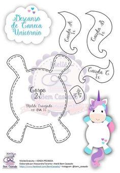 Moldes de unicornios de foamy goma eva o fieltro para imprimir - Ideas Bonitas Para Unicorn Party, Unicorn Birthday, Sewing Crafts, Sewing Projects, Felt Doll Patterns, Felt Coasters, Felt Toys, Stuffed Animal Patterns, Felt Ornaments