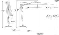 10' Square Cantilever Umbrella AKZSQ10-X-SWV - Dimensions