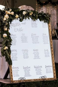 This talented bride did the calligraphy for her seating chart on a vintage mirror, decorated with garland and rose peonies. Country Estate, Seating Charts, Ivory Wedding, Peonies, Garland, Wedding Planning, June, Calligraphy, Table Decorations