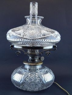 1 of 22 : American Brilliant Cut Glass Oil Lamp w/Chimney.John Wanamaker; KC05
