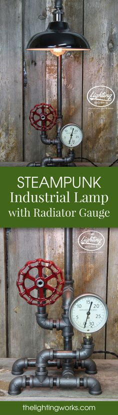 Steampunk Industrial Machine Age Lamp This stunning Machine Age lamp features steampunk industrial styling composed of early 20th-century vintage parts combined with new electrical and plumbing components