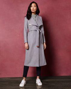 Long wool wrap coat