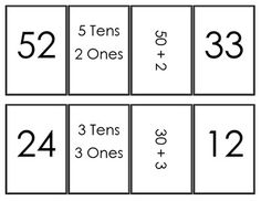 This game is designed to help first grade students (but appropriate for 2nd as well) practice matching standard numbers with expanded form. This game matches Common Core 1.NBT.2. Print, cut, laminate. Have groups of 3-4 students place the cards face down and take turns matching numbers.