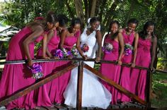 Unique Colour Combo: Purple & Fuchsia - Something Different - Kenya Weddings : Wedding Gowns Fuschia Bridesmaid Dresses, Fuschia Wedding, Hot Pink Weddings, Wedding Colors, Wedding Styles, Wedding Photos, Bridesmaids, Aisle Runner Wedding, African American Weddings