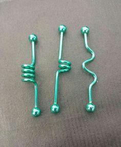 Ideas for piercing ear industrial green - Ideas for piercing ear industrial green - - 5 PC Lot Rainbow Titanium Industrial Barbells Spiral Corkscrew Wave Twist Industrial Piercing Jewelry, Industrial Earrings, Industrial Piercing Barbells, Industrial Barbell, Industrial Bars, Tattoo Und Piercing, Dermal Piercing, Ear Jewelry, Body Jewelry