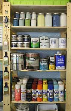 3 Our Storage Spaces: Utility Room Paint Organization -- Absolutely love the eye-appeal of the paint organization.  Love the clear mason jars with paint, rainbow organized spray paint, and magnets for supplies!