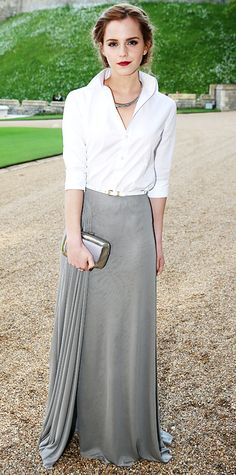 Emma Watson white shirt + long metallic skirt http://joculorb.blogspot.com