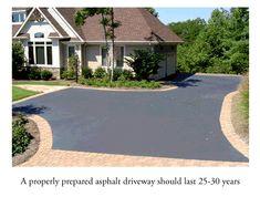 Asphalt Driveway with Brick edging. Cobblestone Driveway, Asphalt Driveway, Gravel Driveway, Circle Driveway Landscaping, Driveway Sealing, Driveway Repair, Modern Driveway, Driveway Design, Driveway Ideas